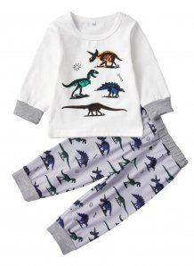 Kids Boy Print Long Sleeve Two-Piece Pajama