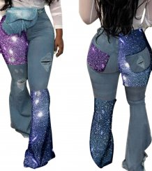 Sequins High Waist Bell Bottom Jeans