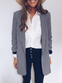 Long Sleeves Plaid Print Long Blazer