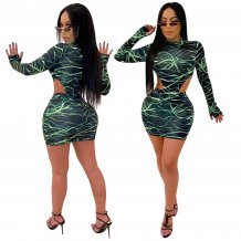 Print Cut Out Sexy Long Sleeve Bodysuit and Mini Skirt