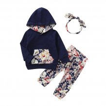 Kids Girl Floral Hoody Sweat Suit with Headband