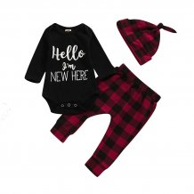 Baby Boy Autumn Print Top and Pants Set with Hat