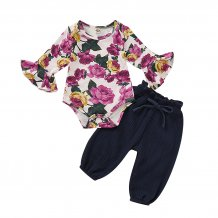 Baby Girl Floral Top and Plain Pants