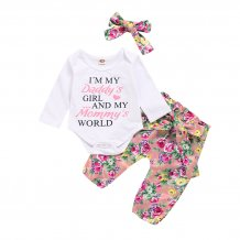 Baby Girl Autumn Print Top and Pants Set with Headband
