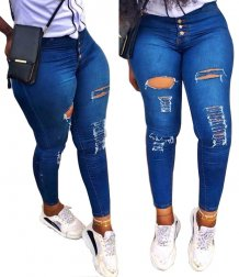 Blue Sexy High Waist Ripped Jeans