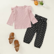 Kids Girl Autumn Plain Shirt with Polka Pants