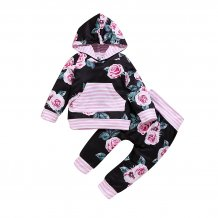 Kids Girl Floral Hoody Sweat Suit