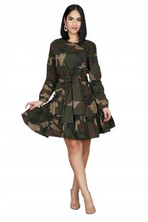 Camou Print Long Sleeve Skater Dress with Belt
