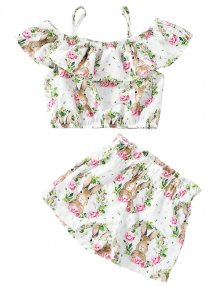 Kids Girl Print Summer Top and Shorts