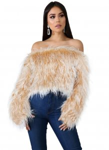 Sexy Off the Shoulder Fur Sweater