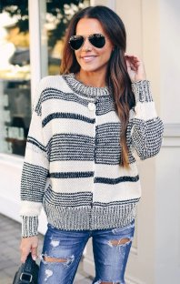 White and Black Pullover Sweater