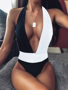 Contrast Deep-V One Piece Swimwear