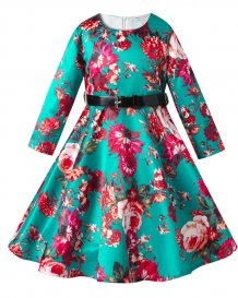 Kids Girl Floral Evening Gown with Belt