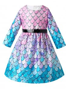Kids Girl Mermaid Evening Gown with Belt
