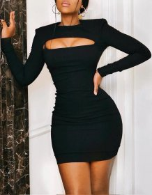 Black Sexy Cut Out Long Sleeve Bodycon Dress