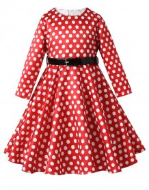 Kids Girl Polka Evening Gown with Belt