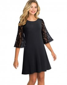 Black A-line Shirt Dress with Lace Sleeves