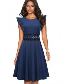 Vintage Blue Hollow Out Skater Dress with Ruffle Sleeves