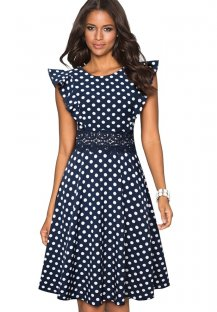 Vintage Polka Hollow Out Skater Dress with Ruffle Sleeves