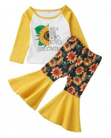 Kids Girl Floral Long Sleeve Shirt and Bell Pants