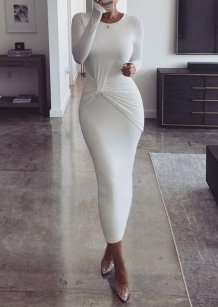 Sheer White Long Sleeves Midi Gown