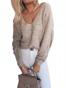 Lace Accent V-Neck Knitted Loose Top