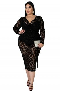 Plus Size Black Long Sleeve Wrap Party Dress