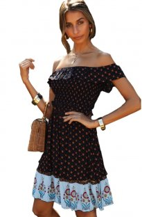 Off Shoulder Print Seaside Short Dress