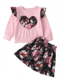 Kids Girl Floral Sweat and Skirt Set
