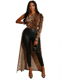 Leopard Print One Shoulder High Low Party Tops