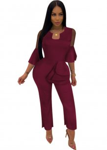 Plain Ruffles Evening Jumpsuit