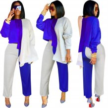 Contrast Long Sleeve Irregular Top and Pants Set