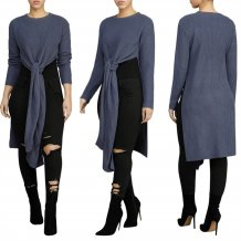 Slit Knitting Long Top with Full Sleeves