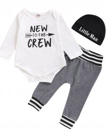 Baby Boy Print Rompers and Pants Set with Hat