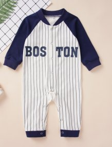 Baby Boy Print Stripes Long Sleeves Jumpsuit Rompers