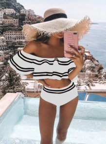 Off Shoulder Stripes Badebekleidung mit hoher Taille