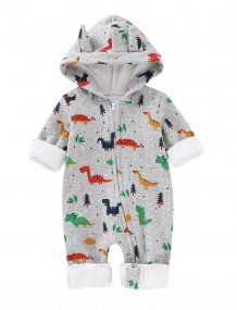 Baby Boy Print Polar Fleece Winter Rompers