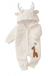 Baby Boy Christmas White Plush Elk Rompers