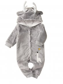 Baby Boy Christmas Grey Plush Elk Rompers
