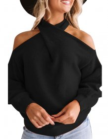 Plain Color Batwing Sleeves Halter Loose Top