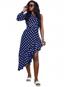 Polka Print One Shoulder Irregular Long Dress