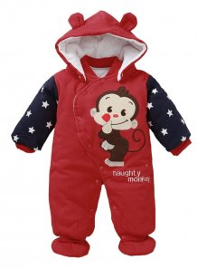 Baby Boy Winter Button Up Print Hoody Rompers