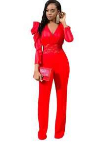 Sexy V-Neck Evening Jumpsuit with Pop Sleeves