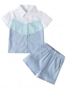 Kids Boy Summer Contrast Shirt and Shorts Set
