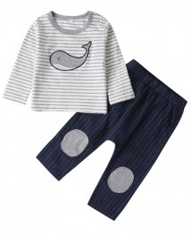 Kids Boy Autumn Print Shirt and Bib Pants