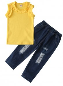 Kids Girl Summer Ruffle Shirt and Jeans Set