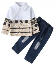 Kids Boy Autumn Print Shirt and Jeans Set