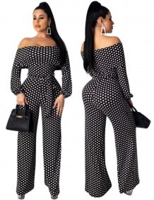 Off Shoulder Polka Evening Jumpsuit with Sleeves