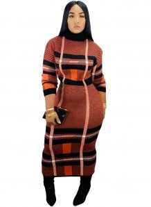 Winter Plaid Long Dress with Sleeves