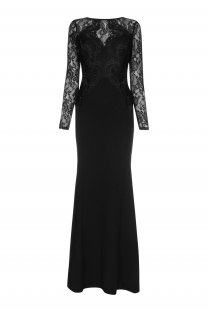 Lace Upper Long Sleeves Mermaid Evening Dress